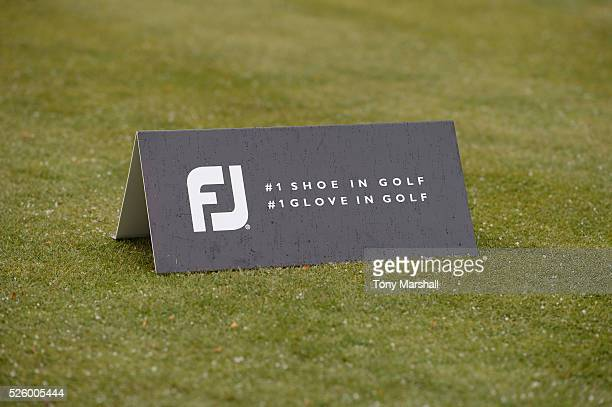 FootJoy marker box on the 1st tee during the PGA Professional Championship Midland Qualifier at Little Aston Golf Club on April 29 2016 in Sutton...