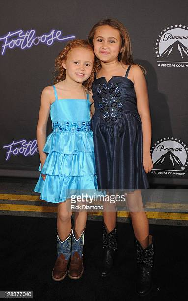 Footloose stars/actors Maggie Elizabeth Jones and sister Mary Charles Jones attend FOOTLOOSE Nashville screening on October 6 2011 in Nashville...
