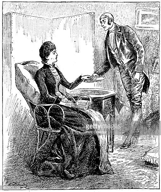 Footman 1888 Footman presenting a card that a caller has left for the lady of the house