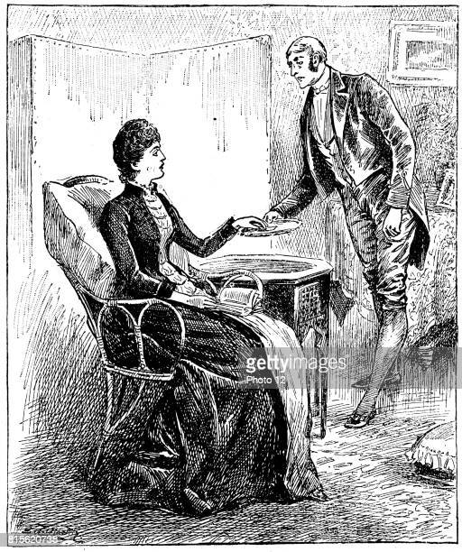 Footman presenting a card that a caller has left for his mistress Wood engraving London 1888