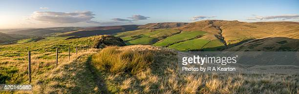 footpath along a ridge in the high peak, derbyshire - grass area stock pictures, royalty-free photos & images