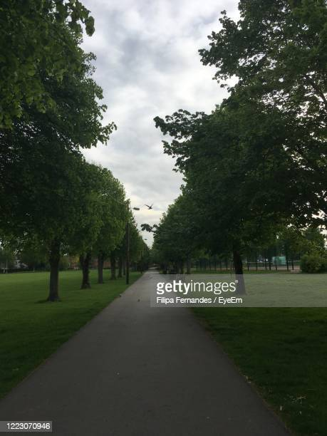 footpath amidst trees against sky - newbury england stock pictures, royalty-free photos & images