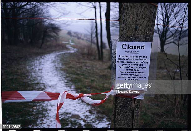 footpath closures due to foot and mouth disease epidemic - zoonotic diseases ストックフォトと画像