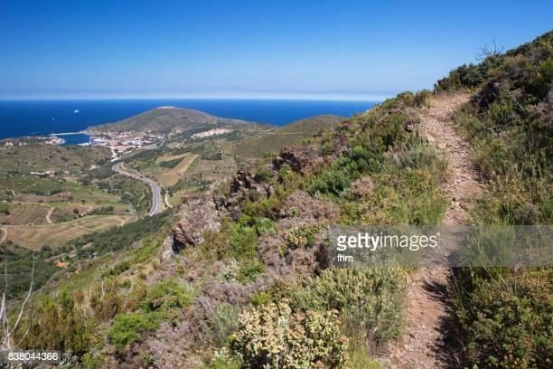 footpath in the mountains near cote vermeille/ france - pyrénées photos et images de collection