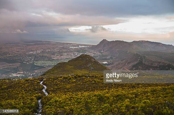 footpath leading down mountain through thick green fynbos vegetation, suburbs of constantia, tokai and muizenberg visible below with storm clouds and rain over false bay in distance, silvermine, cape town, western cape, south africa - constantia stock pictures, royalty-free photos & images