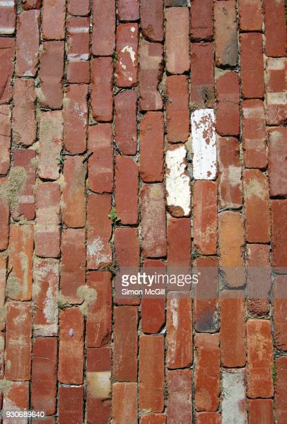 Footpath made from recycled red bricks