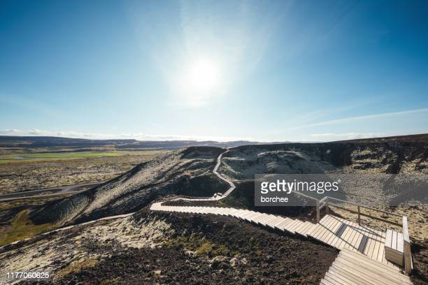 footpath over volcanic crater - steeping stock pictures, royalty-free photos & images