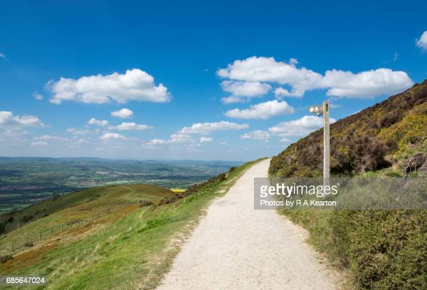 footpath sign at moel famau country park, north wales - north wales stock pictures, royalty-free photos & images