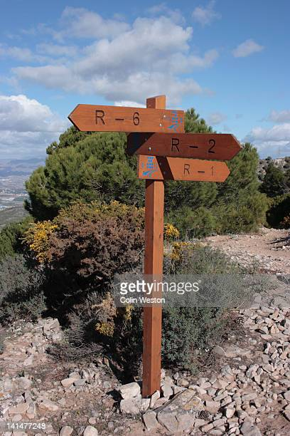 Footpath sign, Calamorro Mountain, Spain.