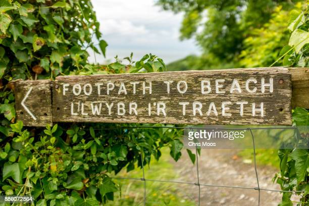 Footpath sign near beach in south Wales