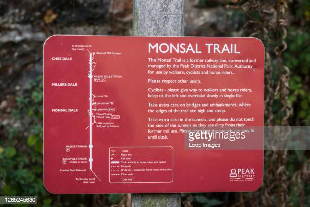 Footpath sign on the Monsal Trail in Derbyshire.
