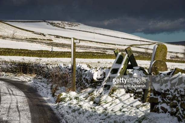 Footpath sign, stile and gate in a snowy winter scene, Derbyshire, England