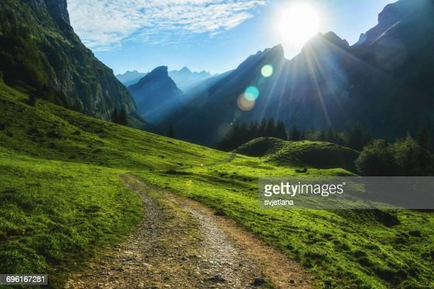 Footpath through mountains, Alps, Switzerland