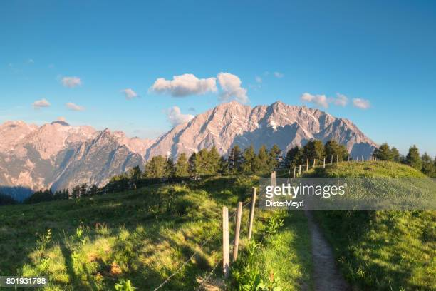 footpath to watzmann east wall at sunrise - nationalpark berchtesgaden - berchtesgaden stock pictures, royalty-free photos & images