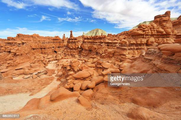 footpath winding through the hoodoos in goblin valley state park, utah. usa - canyonlands national park stock pictures, royalty-free photos & images