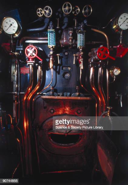 Footplate of the 'Mallard' 462 steam locomotive no 4468 1938 Seen to the upper left of the firehole is the steam chest pressure gauge while to the...