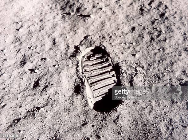 A footprint left on the surface of the moon by one of the Apollo 11 astronauts during their historic lunar EVA 20th July 1969