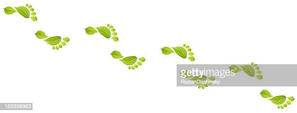footprint made from leaf. - carbon footprint stock pictures, royalty-free photos & images
