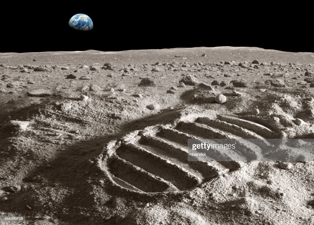 Footprint of astronaut on the moon : Stock Photo
