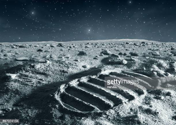 footprint of astronaut on the moon - copy space stock pictures, royalty-free photos & images