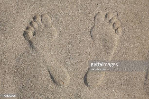 Footprint of sandy beach.