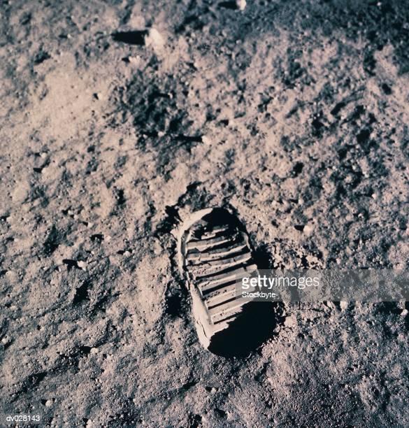 Footprint on Lunar Surface