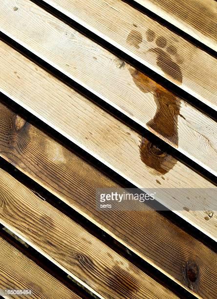 Footprint on the wood