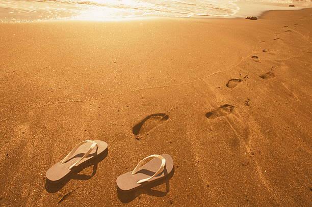 696e4fbf2a883 Footprints and Beach Shoe on Beach