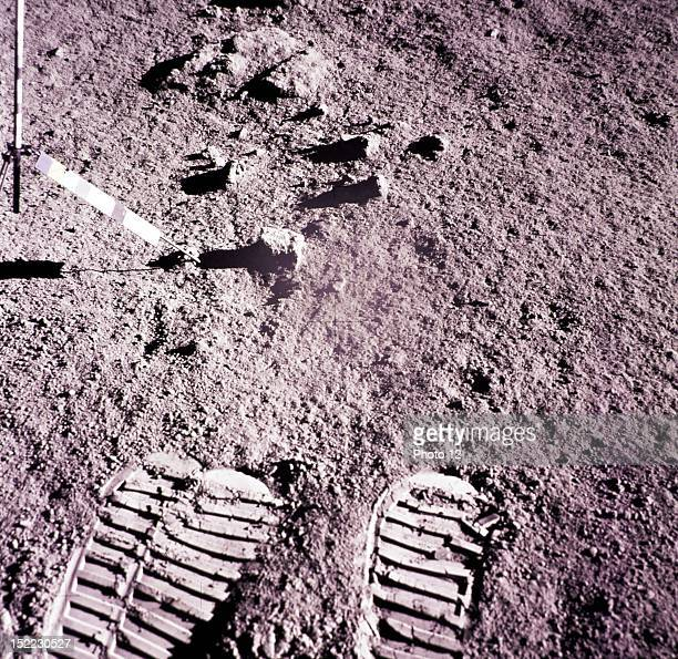 Footprints at the Hadley Apennine site on Moon during Apollo 15 mission