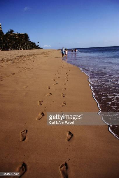 Footprints Left by Couple Walking on Beach