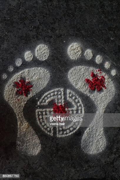 Footprints of Goddess Lakshmi-Rangoli-Diwali