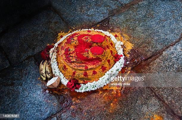 Footprints of Lord Vishnu in a shrine, Srivari Padalu, Narayanagiri Hill, Tirupati, Chittoor District, Andhra Pradesh, India