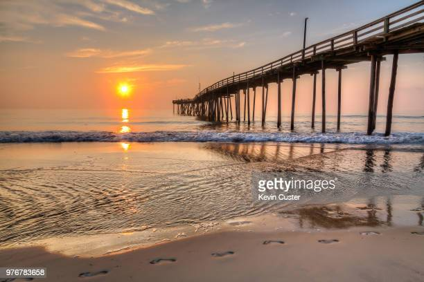 footprints on beach, avon, north carolina, usa - north carolina stock pictures, royalty-free photos & images