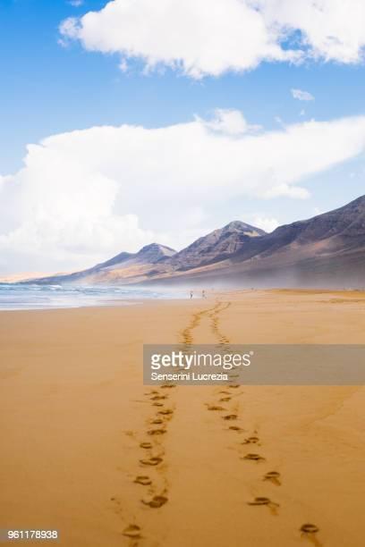 Footprints on beach, Corralejo, Fuerteventura, Canary Islands