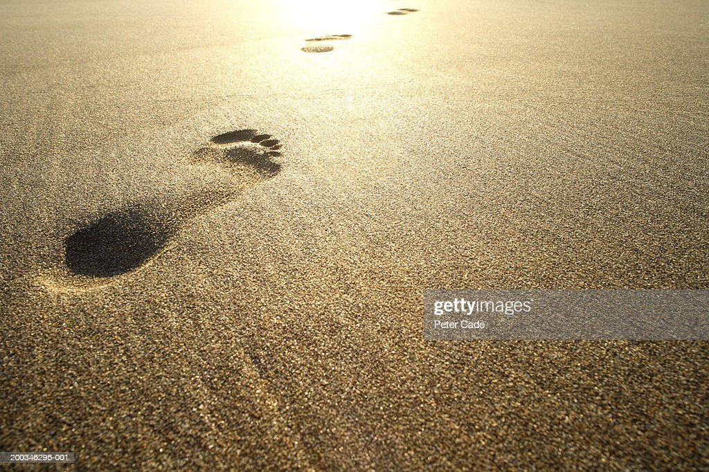 Footprints on beach : Stock Photo