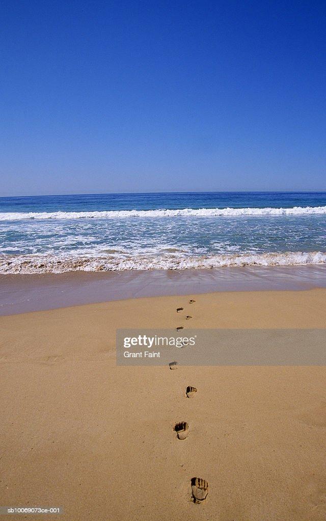 Footprints on beach : Stockfoto