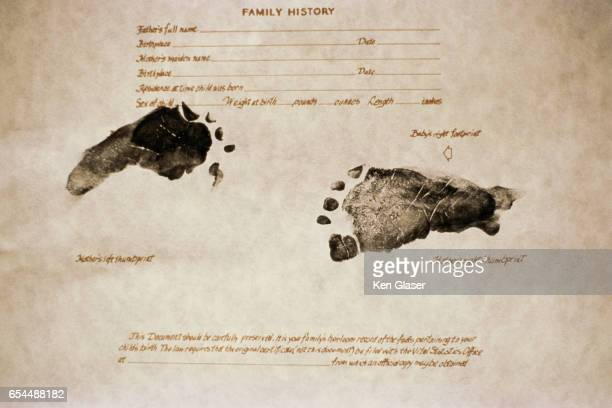 Footprints on Birth Certificate