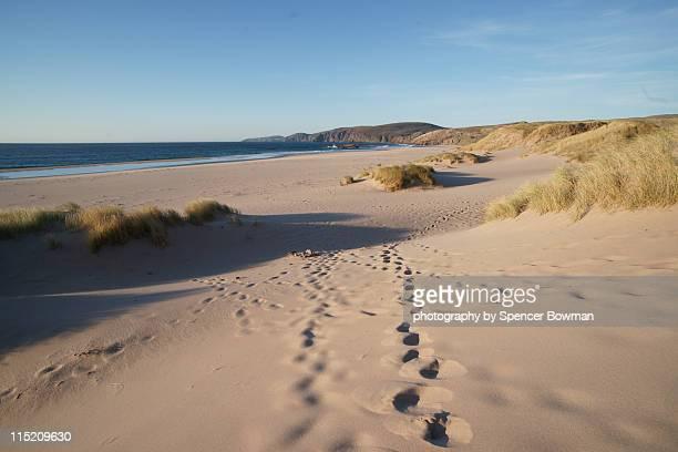 Footprints on pristine sandy beach