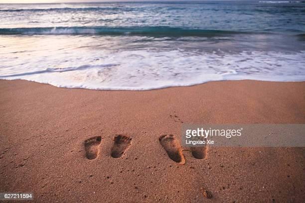 Footprints on sand, Kaanapali Beach, Maui, Hawaii