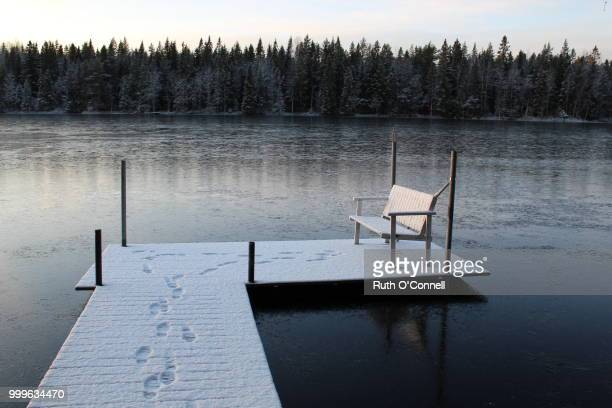 footprints on snow - ruth connell stock photos and pictures
