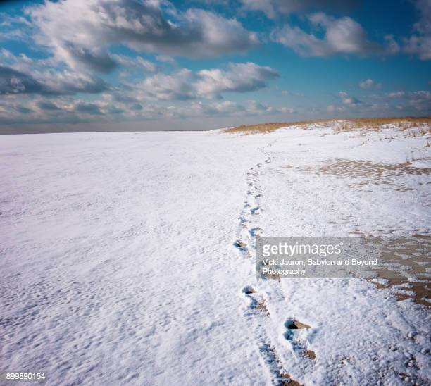 footsteps in the snow to horizon at jones beach - wantagh stock pictures, royalty-free photos & images