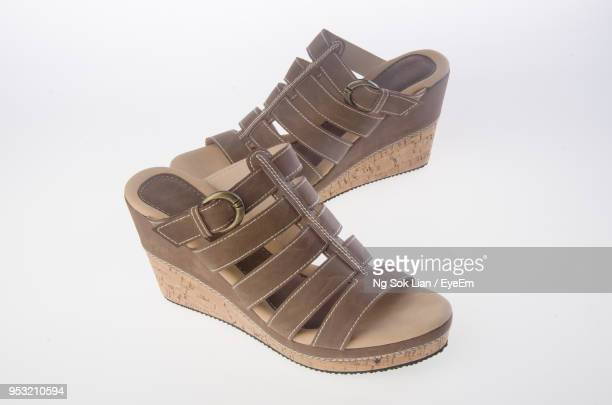 footwear against white background - sandal stock pictures, royalty-free photos & images