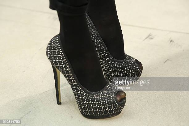 Footwear detail on a model preparing backstage at the Xuly Bet Fall 2016 fashion show during New York Fashion Week The Shows at The Gallery Skylight...