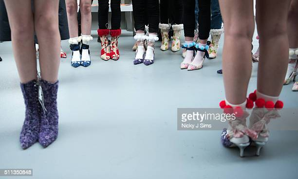 Footwear is seen backstage prior to the Ryan Lo show on day 1 of London Fashion Week Autumn Winter 2016 at BFC Showspace on February 19 2016 in...