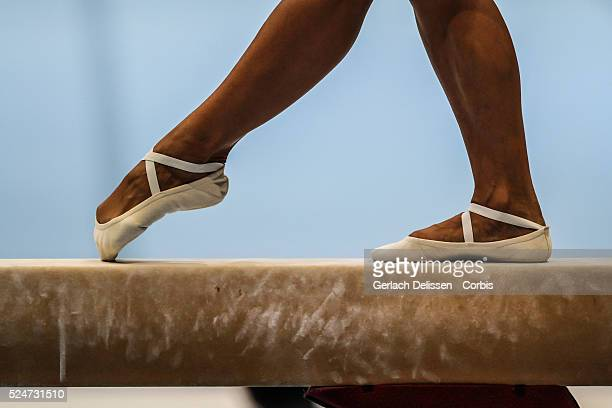 Footwork close up of gymnast Vasiliki Millousi as in action on the balance beam during the Women's AllAround Final of the 44th Artistic Gymnastics...