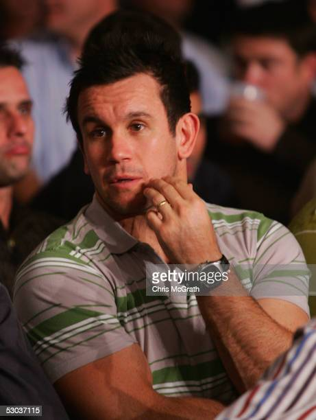 Footy Show cohost and former Rugby League player Matthew Johns watches on prior to the start of the WBA super middleweight title fight between...
