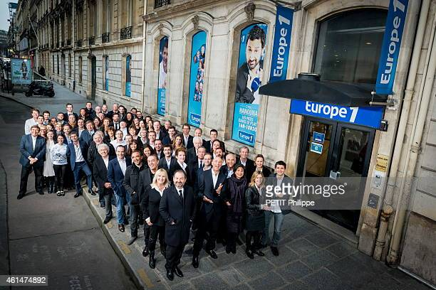 for 60 years of Europe 1 Radio picture together radio presenters journalists with the director Denis Olivennes Cyril Hanouna Nicolas CANTELOU Anne...