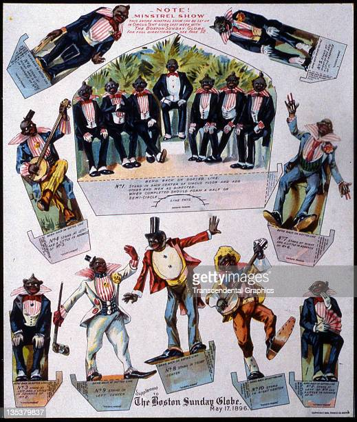 For a Sunday premium the Boston Globe publishes colorful cutout of a racist minstrel show issued in the May 17 1896 issue printed in Boston...
