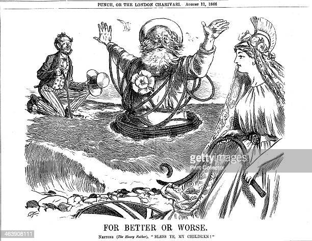 'For Better or Worse' 1866 Father Neptune blessing Britannia and Uncle Sam on the successful laying of the transatlantic telegraph cable The laying...
