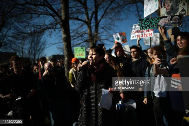 MP for Brighton Pavilion Caroline Lucas of the Green Party speaks at a rally as schoolchildren take part in a student climate march on February 15...